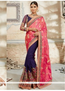 Invigorating Embroidered Work Purple Classic Designer Saree