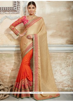 Celestial Georgette Orange Traditional Designer Sarees