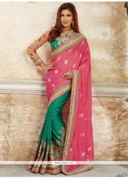 Voluptuous Pink And Sea Green Georgette Classic Designer Saree