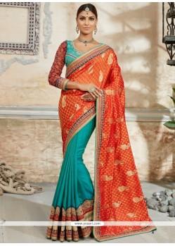 Bedazzling Embroidered Work Orange Classic Designer Saree
