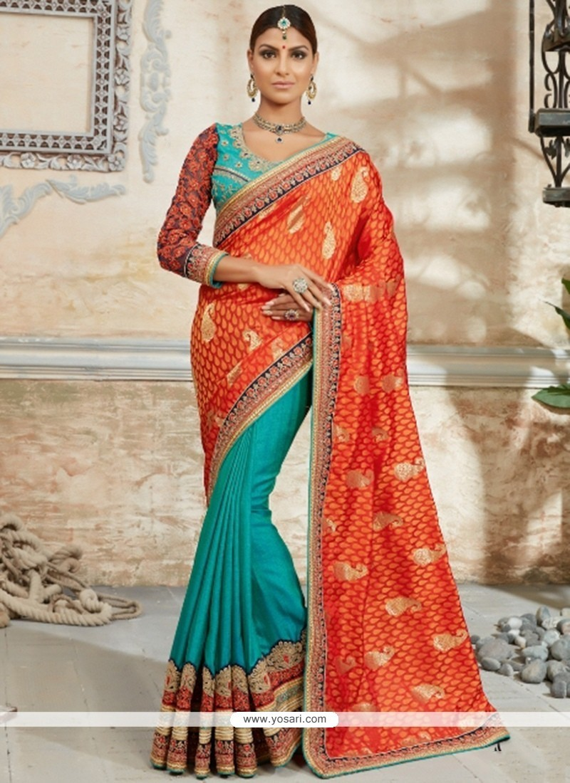 Bedazzling Embroidered Work Orange Classic Designer Saree