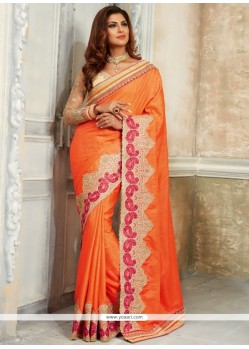 Orange Patch Border Work Georgette Classic Designer Saree