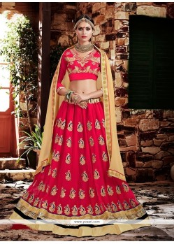 Imperial Rose Pink Patch Border Work Lehenga Choli