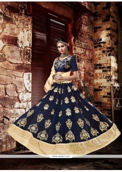 Stylish Patch Border Work Navy Blue Georgette Lehenga Choli