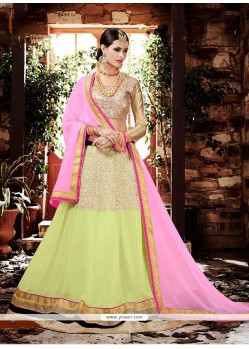 Excellent Georgette Green Embroidered Work Lehenga Choli