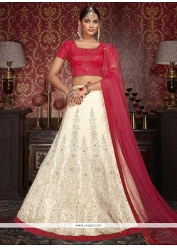 Artistic Hot Pink And Off White Patch Border Work Lehenga Choli