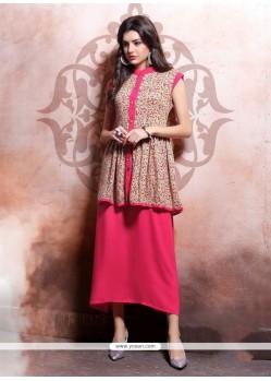 Simplistic Hot Pink Cotton Party Wear Kurti