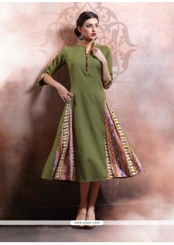 Pleasing Rayon Green Party Wear Kurti