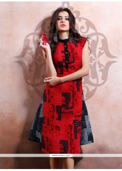 Pleasance Print Work Cotton Party Wear Kurti