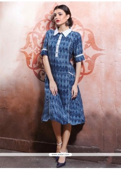 Mesmeric Print Work Cotton Navy Blue Party Wear Kurti