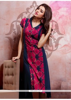 Print Rayon Party Wear Kurti In Navy Blue
