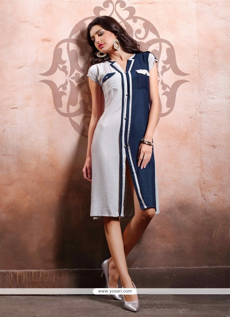 Fabulous Cotton Navy Blue And Off White Party Wear Kurti