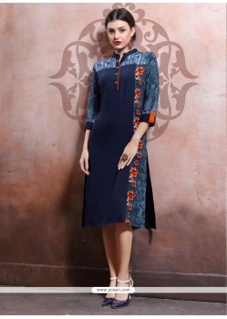 Noble Rayon Navy Blue Party Wear Kurti