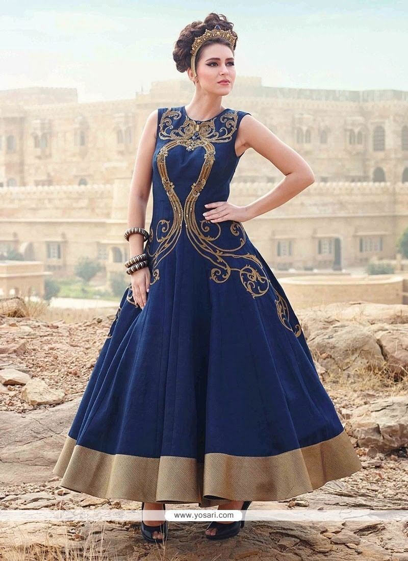 Buy Modest Art Silk Blue Designer Gown | Gowns
