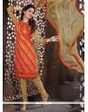 Radiant Orange And Red Lace Work Churidar Designer Suit