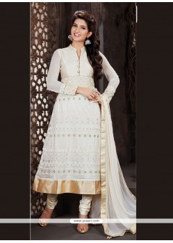 Adorable Embroidered Work White Churidar Designer Suit