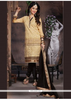 Jazzy Beige And Black Net Churidar Designer Suit