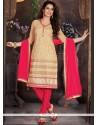 Stunning Net Beige Lace Work Churidar Designer Suit