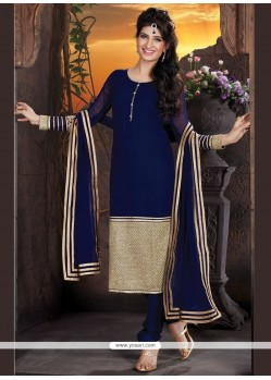 Captivating Embroidered Work Navy Blue Georgette Churidar Designer Suit