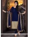 Captivating Embroidered Work Navy Blue Georgette Churidar Designer Suit