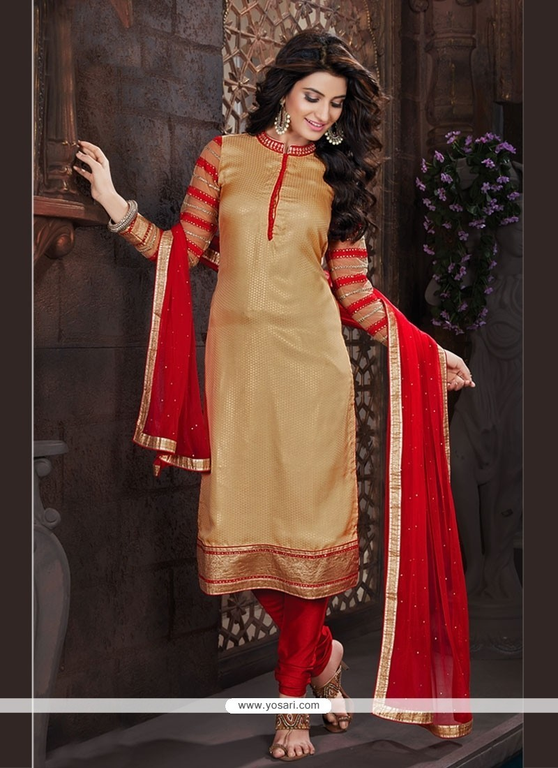 Modish Jacquard Embroidered Work Churidar Designer Suit