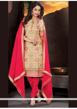 Gratifying Lace Work Churidar Designer Suit