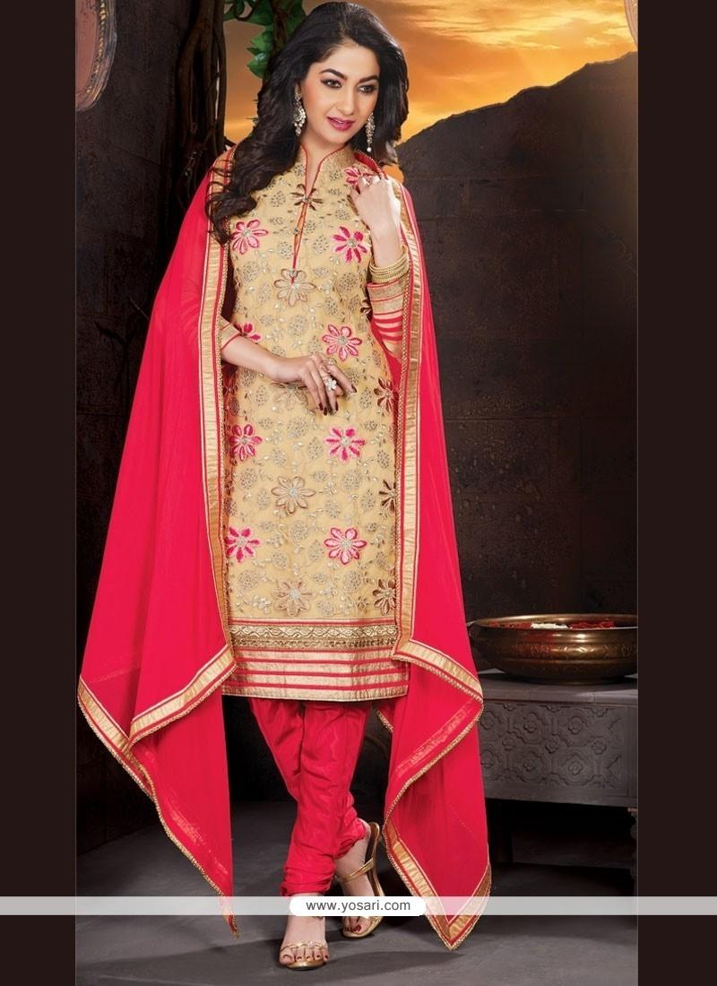 Gratifying Lace Work Churidar Designer Suit