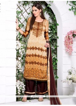 Distinguishable Embroidered Work Satin Designer Palazzo Salwar Kameez