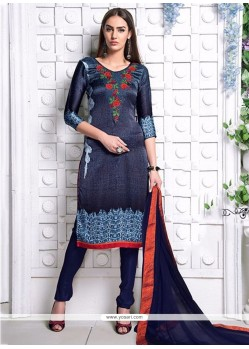 Voluptuous Satin Navy Blue Digital Print Work Churidar Designer Suit