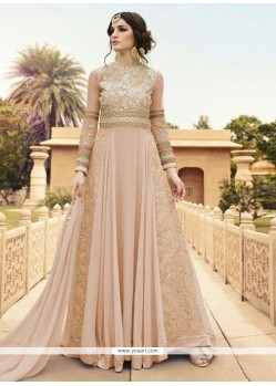 Embroidered Georgette Designer Floor Length Suit In Peach
