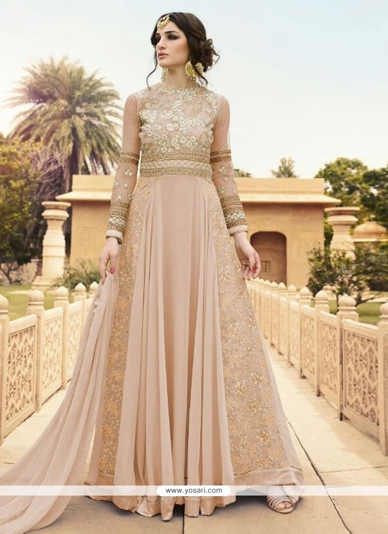17df8a94fe Buy Embroidered Georgette Designer Floor Length Suit In Peach ...