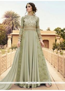 Nice Embroidered Work Green Georgette Designer Floor Length Suit