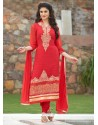 Paramount Red Embroidered Work Churidar Designer Suit