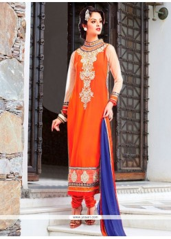 Amusing Georgette Orange Resham Work Churidar Designer Suit