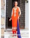 Amusing Georgette Orange Resham Work Churidar Designer Suit