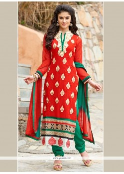 Glowing Georgette Orange Embroidered Work Churidar Designer Suit