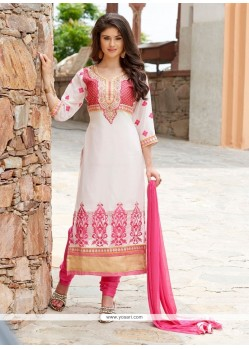 Invigorating Off White Churidar Designer Suit
