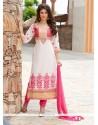 Invigorating Off White Churidar Designer Suit