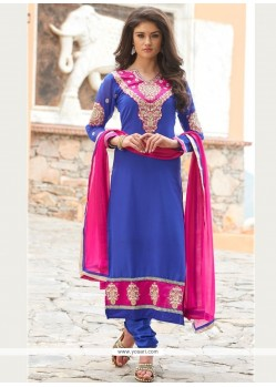 Appealing Embroidered Work Churidar Designer Suit
