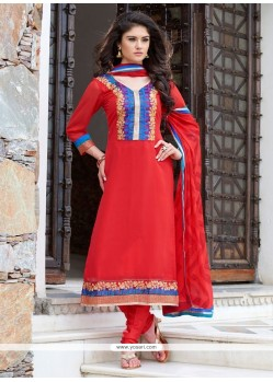 Red Georgette Churidar Designer Suit