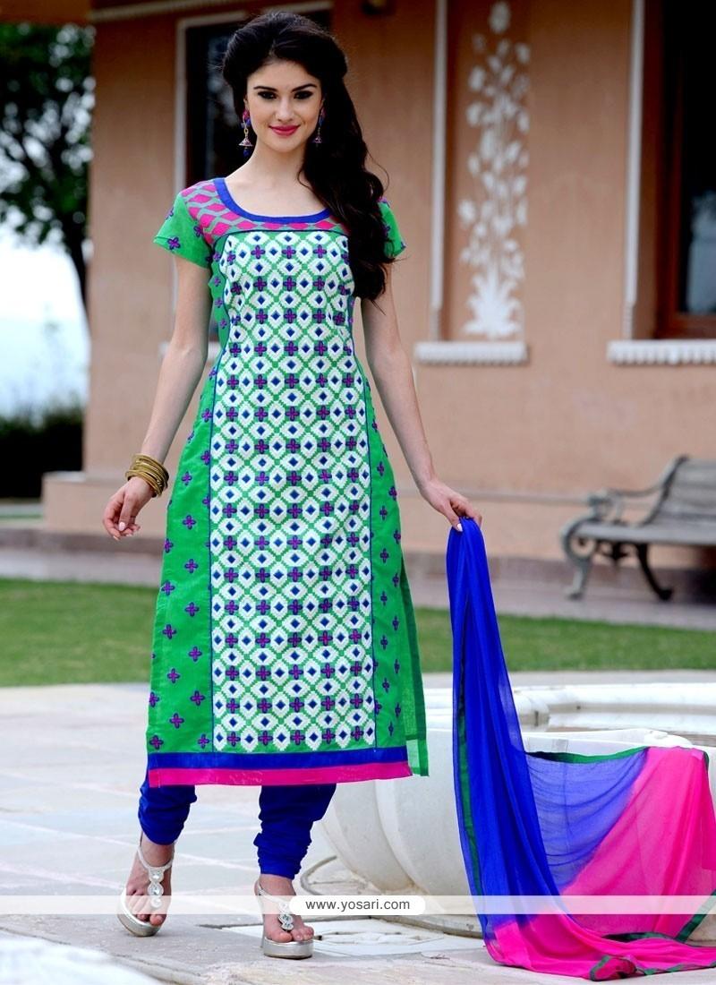 Astounding Chanderi Cotton Churidar Designer Suit