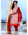 Fabulous Embroidered Work Off White And Red Chanderi Cotton Churidar Designer Suit