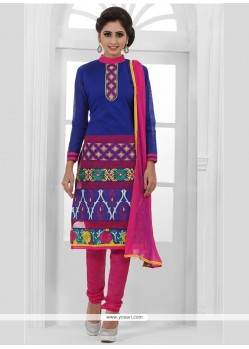 Delectable Chanderi Cotton Blue Churidar Designer Suit