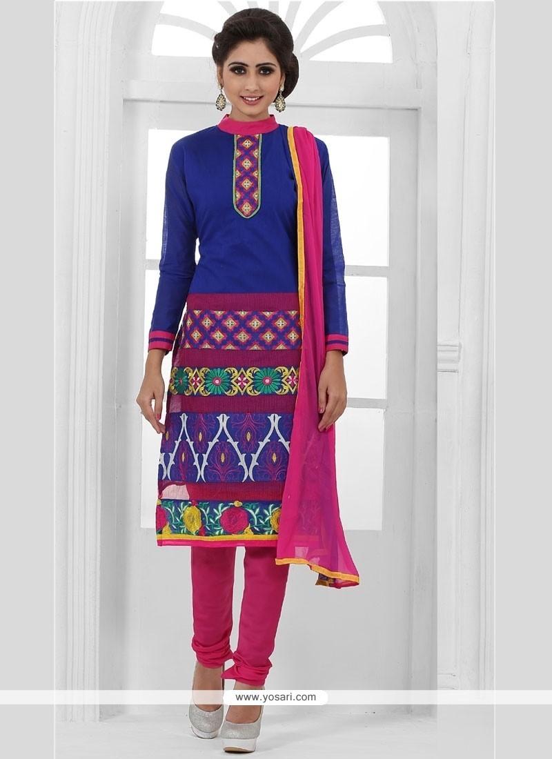 Delectable Chanderi Cotton Blue Churidar Designer Suit