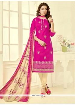 Enthralling Embroidered Work Churidar Suit