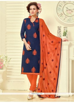 Zesty Cotton Embroidered Work Churidar Suit