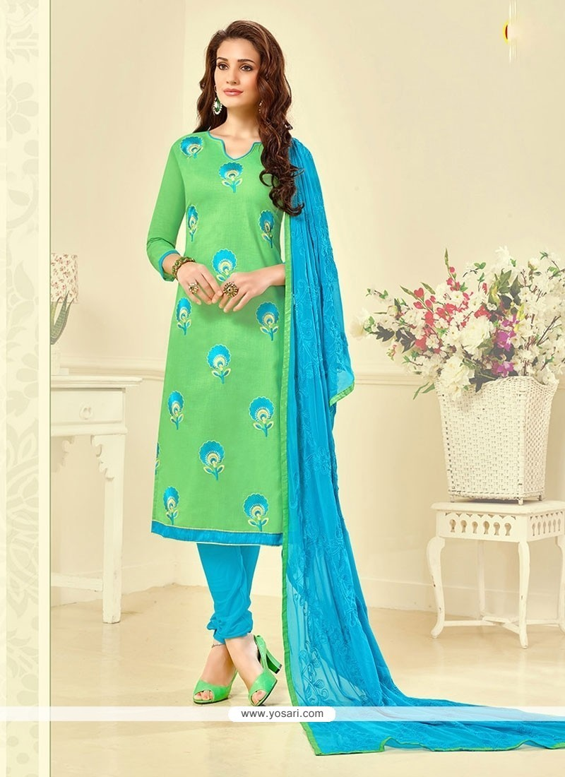 Snazzy Embroidered Work Cotton Green Churidar Suit