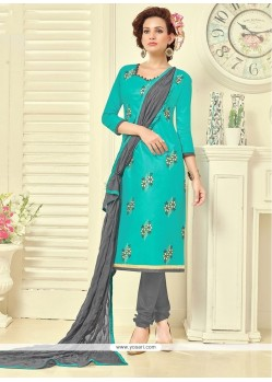 Enchanting Embroidered Work Churidar Suit