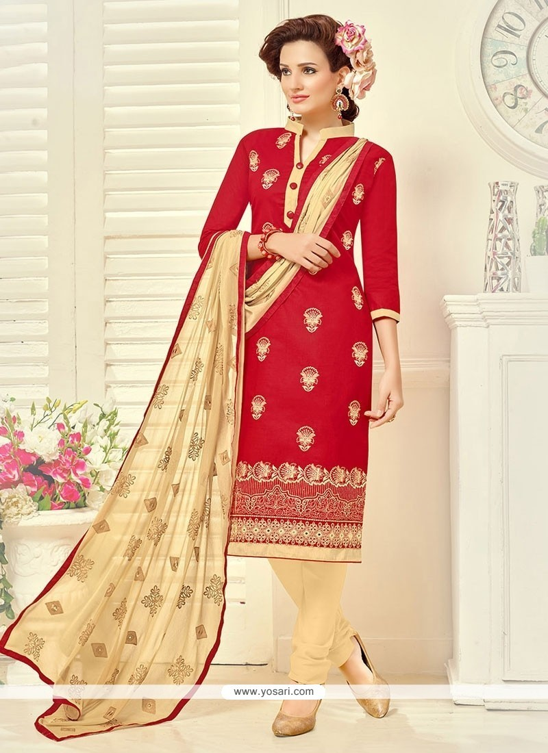 Blissful Cotton Embroidered Work Churidar Suit