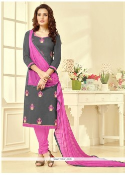 Piquant Embroidered Work Cotton Churidar Suit